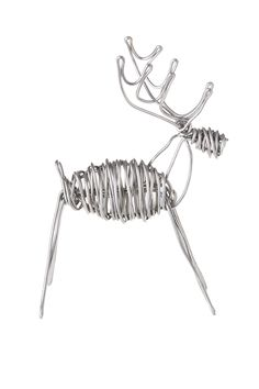 Handcrafted drawn wire sculpture of deer.Simple and joyful little Reindeer. Each reindeer sculpture is hand made from 8ga aluminum wire. Please allow for slight variations in size and shape.  Deer Sculpture by Drawn Metal Studios. Home & Gifts - Home Decor - Decorative Objects Texas