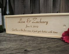 Wedding Wine Box Family Vintage Anniversary Custom Gift Personalized For