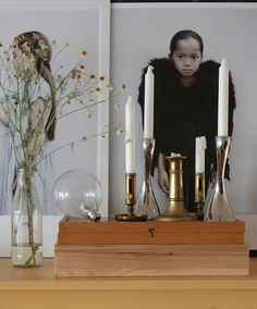 Brass candle holders and Georg Jensen´s Cobra.
