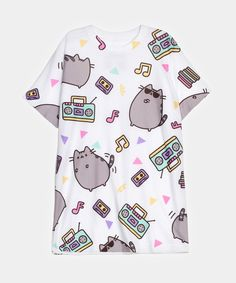 Dance Party Pusheen all-over print tee (unisex) http://www.heychickadee.com/collections/clothing/products/dance-party-pusheen-all-over-print-tee-unisex
