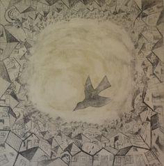 Satul care înconjoară cerul – Mircea Nechita – 300 lei | EliteArtGallery - galerie de artă Lei, Romania, Graphic Art, Celestial, Gallery, Outdoor, Outdoors, Roof Rack, Outdoor Games