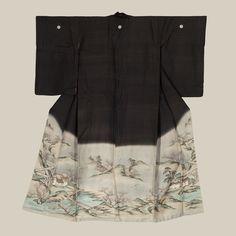 Chirimen (crepe) Silk kimono featuring embroidery (regular, sagara and couching), and hand painted background utilizing bokoshi dip dye. Late Edoperiod (1830-1868). The Kimono Gallery