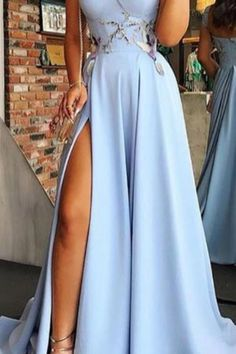 Buy Cap Sleeve Sweetheart A Line Side Slit Satin Blue Long Prom Dresses,Evening Dresses in uk.Rock one of the season's hottest looks in a burgundy homecoming dress or choose a timeless classic little black dress. Elegant Dresses For Women, Dresses For Teens, Trendy Dresses, Sexy Dresses, Beautiful Dresses, Dress Outfits, Nice Dresses, Evening Dresses, Casual Dresses