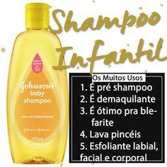 O Shampoo Infantil tem muitos usos na beleza: é ótimo pra combater a blefarite, remove a maquiagem, funciona como pré shampoo, lava pincéis e é esfoliante!