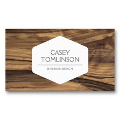 Zebra Wood Customizable business card for interior designers