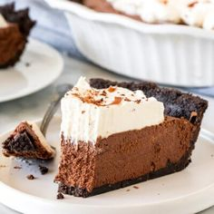 Decadent creamy and perfectly rich - this chocolate mousse pie is a showstopper. It's completely no-bake and easier to make than you may think! from Just So Tasty Chocolate Mousse Pie, Chocolate Chip Muffins, Chocolate Shavings, Mousse Cake, Chocolate Brownies, Chocolate Desserts, Cake Mix Cookies, No Bake Cookies, Nutella Cookies