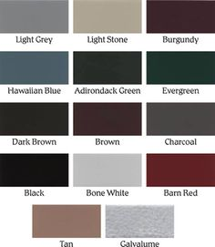 Metal Roofs Color Chart Metal Roof Color Chart From