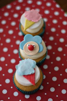 Circus Fondant Clown and Cotton Candy Toppers for Cupcakes, Cookies, Brownies or Mini-Cakes. $19.00, via Etsy.