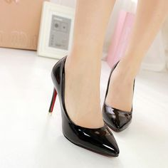 Sexy Stiletto Heel Pointed Patent Leather Women's Shoe