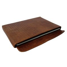 Brown Leather Laptop Case by Lapàporter | MONOQI. short flap.