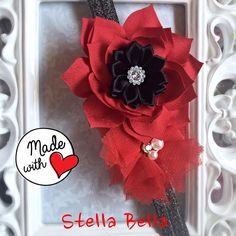 Chic Adjustable Red and Black Baby/Toddler Headband, Red Baby Headband, Black Sparkly Baby Headband, Flower Adjustable Headband, Newborn by BoutiqueStellaBella on Etsy https://www.etsy.com/listing/245090052/chic-adjustable-red-and-black