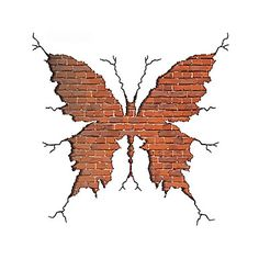 3D Wall Stickers Wall Decals Style Butterfly Broken Wall PVC Wall Stickers #05060983