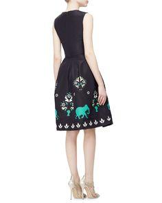 Jewel-Neck Sleeveless Elephant Embroidered Dress, Navy