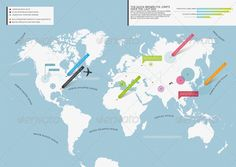 Beautiful and cheap minimal world map with infographic elements