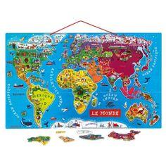 Carte du monde magnétique Janod pour enfant dès 6 ans - Oxybul éveil et jeux