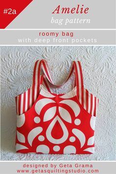 Purse tote bag patterns for two spacious bags with deep front pockets.