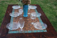 """Farm Table, Patinaed Copper Mosaic Tile, """"Aztec Blue"""", Reclaimed Wood, 36 x Dark Brown Finish - Handmade Outdoor Table Tops, Patio Table, Diy Table, Wood Mosaic, Mosaic Tiles, Tile Tables, Dining Tables, Copper Table, Dining Table Design"""