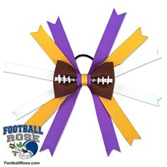Handmade Football Hair Bow made from real football leather with Purple, Yellow, and White ribbon accents inspired by Minnesota football Football Hair Bows, Football Team, Different Font Styles, Rose Boutonniere, Team Mom, Handmade Hair Bows, Elastic Hair Ties, Making Hair Bows, Ribbon Colors