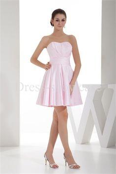 Pink A-Line Short Sleeveless Satin Bridesmaid Dress