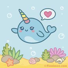 Cute Narwhal Girl Finnimoo Sends A Heart , Funny Animated Cartoon, Cartoon Pics, Cute Cartoon, Kawaii Narwhal, Cute Narwhal, Whale Cartoon Drawing, Cartoon Drawings, Narwhal Pictures, Baby Deer Nursery