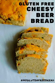 You need to try this Gluten Free cheese topped Beer Bread! So tangy and full of flavor - and no electric mixer required for mixing! Perfect addition during game time. Gluten Free Beer, Gluten Free Snacks, Gluten Free Baking, Gluten Free Recipes, Healthy Recipes, Beer Bread Recipe Tastefully Simple, Honey Beer Bread, Easy Bread Recipes, Quick Bread