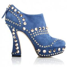 Miu Miu Suede Studded Curved Heel Ankle Boots