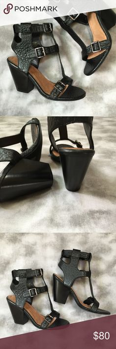 """Seychelles Elecktro sandal size 7.5 New in box Seychelles Elecktro sandal size 7.5. New in box. Leather upper. Buckle closure. Heel height approximately 3.5"""". Padded footbed. Black leather, silver tone hardware. Small scuff on one heel as shown in photo. Seychelles Shoes Heels"""