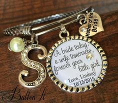 Mother of the BRIDE gift, Mother of the GRoom Gift, wedding jewelry, INITIAL jewelry, Today a Bride Forever your little girl BANGLE bracelet by buttonit on Etsy Mother Of The Groom Gifts, Mother Of The Bride, Gift Wedding, Wedding Jewelry, Bride Forever, Bangle Bracelets, Bangles, Initial Jewelry, Forever Yours
