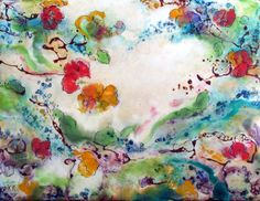 Original Encaustic Painting  A Swirl of Flowers  by KLynnsArt