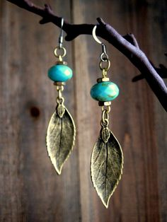 Rustic Turquoise Leaf Dangle Earrings by SmitherineDesigns on Etsy, $30.00
