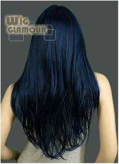 Long Dark Blue Mixed Black Hair