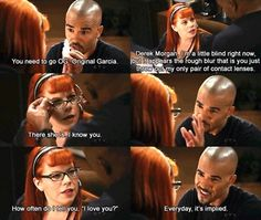 Shemar Moore as Derek Morgan and Kirsten Vangsness as Penelope Garcia in Criminal Minds Fan Art Work Christian Grey, Ryan Gosling, Matt Bomer, Criminal Minds Memes, Criminal Minds Morgan, Criminal Minds Season 6, Morgan And Garcia, Behavioral Analysis Unit, Penelope Garcia