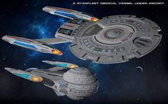 Tempest-class escort with a Sanctuary-class medical ship by Kereth MakuraI really love that escort.