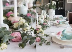 Konfirmasjonsbord dekket i pastellfarger - Anette Willemine Tablescapes, Table Settings, Invitations, Table Decorations, Interior, Party, Pink, Inspiration, Furniture