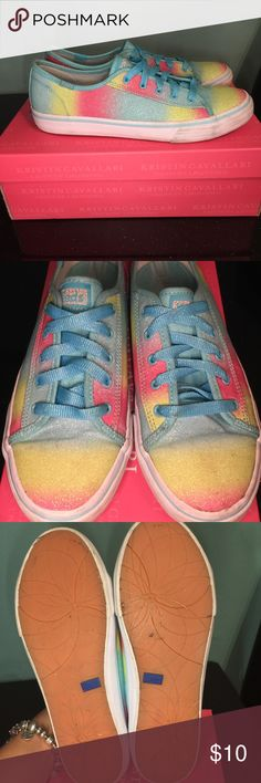 Keds Multicolor Glitter Low Top Sneakers Time to clean out my babygirls closet!  Great USED condition! These have been sanitized. They will not be shipped in a shoebox, however, they will be packaged and protected for shipment. Keds Shoes Sneakers