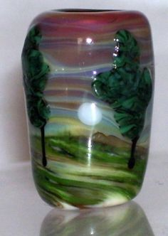WSTGA~MOONLIT PINES~TREE European charm handmade lampwork focal glass bead By Molly Cooley