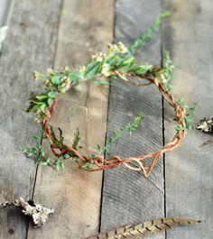 Goddess leaf crown, Woodland headpiece, Forest crown, Leaf circlet, Rustic wedding, Hair accessories