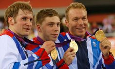 Philip Hindes, Chris Hoy and Jason Kenny with gold medals after winning the Olympic men's team sprint final -cycling