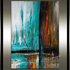 Arte de pared pintura horizonte marino arte por largeartwork Más Modern Oil Painting, Simple Acrylic Paintings, Oil Painting On Canvas, Art Mural, Wall Art, Themes Photo, Pictures To Paint, Painting Techniques, Painting Inspiration
