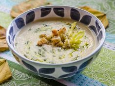 Triple Celery Soup with Parmesan, Parsley & Garlic Croutons & Parsley Oil Cream Of Celery Soup, Soups And Stews, Parsley, Cheeseburger Chowder, Parmesan, Hummus, Oatmeal, Garlic, Breakfast