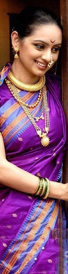 Traditional Marathi style silk sari and jewelry