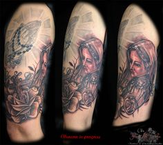 Oberarm in progress Maria und Rose von heute #tattoorosenheim #chris #tattoochris #christattoo #forlifecolor #tattooraubling #ink #instatattoo #nofilter #instagood #tats #blackandgreytattoo #religioes #heiligemaria #heilig #inprogress #blackandgrey #rosenheim #raubling #tattoo #tattoos #tattoostyle #liked #tattoolife #tattoolovers #tattooart #tattooed #artistchris #artist #tattooartist