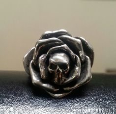 RESERVED sterling silver Skull rose ring by youareoutthere on Etsy, $75.00