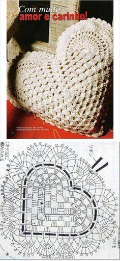 25 Ideas Crochet Blanket Girl Pattern Granny Squares For 2019 Crochet Diagram, Crochet Chart, Crochet Motif, Crochet Designs, Crochet Doilies, Crochet Stitches, Crochet Heart Blanket, Crochet Pillow, Crochet Blanket Patterns