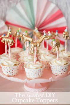DIY Gold Animal Cupcake Toppers - an adorable and chic party decor idea!
