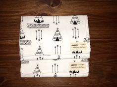 Set of 2 Burp Cloths, Tepees, Tribal, Arrows by LondonGreyBoutique on Etsy