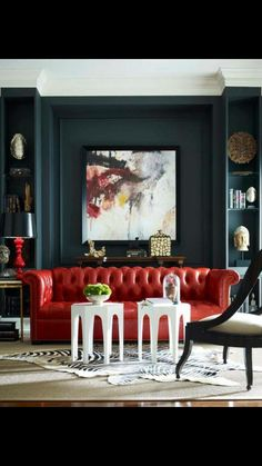 Diana Parrish Design and Photography + Emerson et Cie via Masins Fine Furniture (Red couch & dark gray wall w/ abstract painting) My Living Room, Living Room Furniture, Living Spaces, Red Living Room Decor, Sofa Design, Design Design, Design Salon, Home Fashion, Swag Fashion
