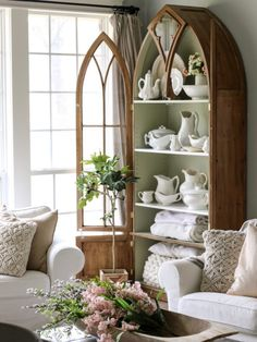 Decor Antique cabinet displays ironstone collection - Fall home tours are my favorite and today's is fall farmhouse perfection! Tour this home then come back to check out all of my Eclectic Home Tours HERE Erin of Cotton Stem is the definition Find Furniture, Vintage Furniture, Home Furniture, Modern Furniture, Plywood Furniture, Furniture Design, Rustic Cabinets, Antique Cabinets, Antique Decor
