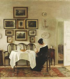 The Athenaeum - Mother and Child in a Dining Room Interior (Carl Vilhelm Holsøe - )