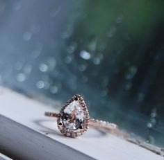 1.2ct Rain drop - white sapphire and rose gold ring